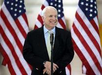 <p>Republican presidential candidate Senator John McCain (R-AZ) speaks at a campaign event at Swift Aviation at Phoenix International Airport March 10, 2008. REUTERS/Rick Scuteri</p>