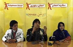 <p>Lima Sahar (R), Hameed Sakhizada (C) and Rafay Nabzada, the three finalists in Afghan Star, Afghanistan's answer to American Idol, talk during a news conference in Kabul March 11, 2008. REUTERS/Omar Sobhani</p>