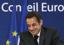 <p>Sarkozy em coletiva de imprensa em Bruxelas. Photo by Yves Herman</p>