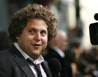 """<p>Jonah Hill is interviewed at the premiere of """"Superbad"""" at the Grauman's Chinese Theatre in Hollywood, California August 13, 2007. Jay Baruchel, Gerard Butler, America Ferrera, Jonah Hill and Christopher Mintz-Plasse have signed on to star in the CGI-animated fantasy feature """"How to Train Your Dragon."""" REUTERS/Mario Anzuoni</p>"""