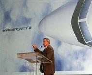 <p>Sean Durfy, president of West Jet, addresses shareholders at the company's annual general meeting in Calgary, Alberta, May 1, 2007. REUTERS/Todd Korol</p>