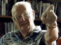 <p>British science fiction writer Sir Arthur C. Clarke gestures at his study in his home in the Sri Lankan capital Colombo in this file photo taken January 1, 2002. Clarke has died in Sri Lanka at age 90, his secretary said on March 19, 2008. Picture taken January 1, 2002. REUTERS/Anuruddha Lokuhapuarachchi</p>