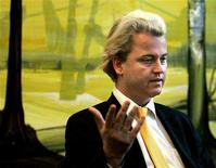 <p>Dutch right wing politician Geert Wilders speaks during an interview with Reuters Television inside the Dutch Parliament in The Hague, in this March 3, 2005 file photo. REUTERS/Jerry Lampen/Files</p>