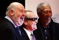 "<p>Jack Nicholson (C), Morgan Freeman (R) and Rob Reiner pose at the premiere of ""The Bucket List"" in Berlin, January 21, 2008. REUTERS/Tobias Schwarz</p>"