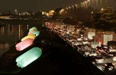 <p>Giant plastic bottles are seen on the bank of the Tiete river in downtown Sao Paulo March 26, 2008. The art installation was created by Eduardo Srur to urge people not to pollute rivers with recycled material. Photo by Paulo Whitaker</p>