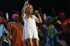 """<p>Singer Celine Dion performs on stage in Johannesburg February 14, 2008. The singer is in the country to launch her """"Taking Chances"""" world tour. REUTERS/Antony Kaminju</p>"""