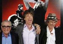 """<p>Director Martin Scorsese stands next to Rolling Stones band members Keith Richards (R) and Mick Jagger (C) during a news conference regarding the documentary film about the Rolling Stones named """"Shine A Light"""" in New York March 30, 2008. REUTERS/Lucas Jackson</p>"""