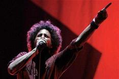 """<p>Singer Zack de la Rocha performs with the band """"Rage Against The Machine"""" during the Rock The Bells Festival in New York July 28, 2007. REUTERS/Lucas Jackson</p>"""