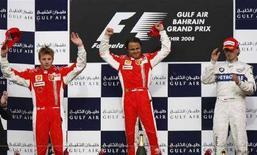 <p>Il podio del Gran Premio del Bahrein. REUTERS/Hamad I Mohammed</p>