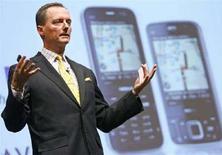 <p>Niklas Savander, presidente della sezione servizi Internet di Nokia durante la conferenza stampa a Helsinki dell'11 aprile 2008. REUTERS/Bob Strong</p>
