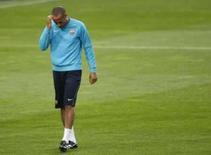 <p>O atacante do Barcelona Thierry Henry participa de treino no Camp Nou, dia 8 de abril. Thierry Henry teme que sua capacidade de fazer gols tenha sido prejudicada por jogar como ponta-esquerda em vez de centroavante no Barcelona. Photo by Albert Gea</p>