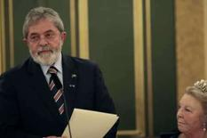 <p>O presidente Luiz Inacio Lula da Silva, em recente viagem à Holanda. Ao lado, a rainha Beatrix. Foto tiorada em 10 de março de 2008. Photo by Pool</p>