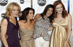 """<p>Stars of the ABC show """"Desperate Housewives"""" (L-R) Felicity Huffman, Eva Longoria, Teri Hatcher and Marcia Cross arrive to attend the ABC Network upfronts in New York May 15, 2007. REUTERS/Lucas Jackson</p>"""