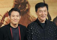 """<p>Jet Li (L) and Jackie Chan pose during a news conference to promote their latest film """"The Forbidden Kingdom"""" in Hong Kong March 18, 2008. REUTERS/Victor Fraile</p>"""