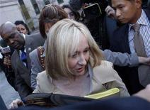 <p>J.K. Rowling, author of the Harry Potter book series, leaves the U.S. District Court in New York April 15, 2008. REUTERS/Joshua Lott</p>