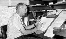 """<p>Walt Disney animator Ollie Johnston works on a drawing for """"Jungle Book"""" in this August 1965 publicity photo released to Reuters on April 15, 2008. Johnston, the last of Walt Disney's original team of animators, known as the Nine Old Men, has died at the age of 95 in Sequim, Washington, a Walt Disney Co spokesman said on Tuesday. REUTERS/Walt Disney Company/Handout</p>"""