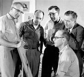 <p>Walt Disney animator Ollie Johnston (seated) is shown with fellow animators Milt Kahl (L), Marc Davis, Frank Thomas, and Walt Disney (R) in this 1957 publicity photo released to Reuters April 15, 2008. Johnston, the last of Walt Disney's original team of animators, known as the Nine Old Men, has died at the age of 95 in Sequim, Washington, a Walt Disney Co spokesman said on Tuesday. REUTERS/Walt Disney Company/Handout</p>