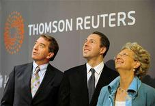 <p>Thomson Reuters Deputy Chairman Niall FitzGerald (L), Thomson Reuters Chief Executive Officer of Markets Division Devin Wenig (C) and London Stock Exchange Chief Executive Officer Clara Furse open the market at the London Stock Exchange, April 17, 2008. REUTERS/Dylan Martinez</p>