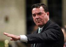 <p>Canada's Finance Minister Jim Flaherty speaks during Question Period in the House of Commons on Parliament Hill in Ottawa April 17, 2008. REUTERS/Chris Wattie</p>