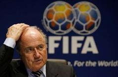 <p>Il presidente della Fifa Sepp Blatter. REUTERS/Arnd Wiegmann</p>