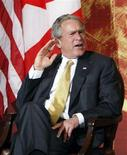 """<p>U.S. President George W. Bush listens to a question at the North American Leaders' Summit between the U.S., Mexico and Canada in New Orleans, Louisiana April 21, 2008. President George W. Bush, making a highly unusual appearance on U.S. television game show """"Deal or No Deal,"""" sought show host Howie Mandel's help to deal with the federal budget in upcoming talks with Congress. REUTERS/Chris Wattie</p>"""