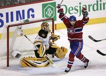 <p>Montreal Canadiens Tomas Plekanec celebrates as teammate Andrei Kostitsyn's shot gets past Boston Bruins goalie Tim Thomas in the second period during Game 7 of the NHL Eastern Conference quarter-final game in Montreal, April 21, 2008. REUTERS/Christinne Muschi</p>