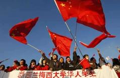 <p>Manifestantes pró-China protestam antes da passagem da tocha olímpica por Camberra, 24 de abril de 2008. Photo by Tim Wimborne</p>