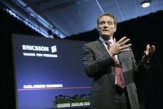 <p>Le directeur général d'Ericsson, Carl-Henric Svanberg. L'équipementier télécoms suédois a fait état d'un bénéfice opérationnel meilleur que prévu au premier trimestre 2008, à 4,3 milliards de couronnes suédoises. /Photo prise le 9 avril 2008/REUTERS/Fredrik Persson/Scanpix</p>