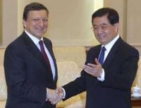 <p>O presidente da Comissão Européia, José Manuel Barroso, com o presidente da China, Hu Jintao, em Pequim, 25 de abril de 2008. Photo by Pool</p>