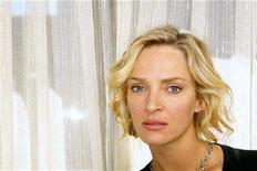 """<p>Actress Uma Thurman poses during a press day promoting the film """"The Life Before Her Eyes,"""" in New York April 15, 2008. REUTERS/Lucas Jackson</p>"""