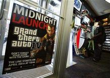 """<p>An advertisement announcing the midnight launching of the """"Grand Theft Auto 4"""" video game sits on display at a store in New York April 28, 2008. REUTERS/Shannon Stapleton</p>"""