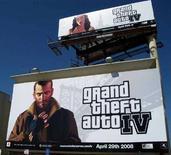 """<p>Una pubblicità di """"Grand Theft Auto 4"""" a Los Angeles. REUTERS/Lisa Baertlein (UNITED STATES)</p>"""