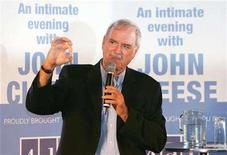 <p>John Cleese gestures during a news conference at Taronga Zoo in Sydney January 6, 2006. REUTERS/Will Burgess</p>