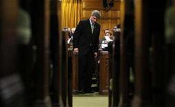<p>Canada's Prime Minister Stephen Harper speaks during Question Period in the House of Commons on Parliament Hill in Ottawa April 30, 2008. REUTERS/Chris Wattie</p>