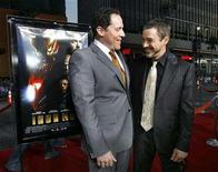 "<p>Cast member Robert Downey Jr. (R) smiles at the premiere of the film ""Iron Man"" with its director Jon Favreau at the Grauman Chinese Theatre in Hollywood, California April 30, 2008. REUTERS/Mario Anzuoni</p>"