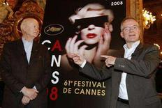 <p>Gilles Jacob (L), president of the 61st Cannes Film Festival and Thierry Fremaux (R), general delegate of the festival, pose in front of the official poster after a news conference to announce the selection of competing films in Paris April 23, 2008. The festival runs through May 14 - 25. REUTERS/Benoit Tessier</p>