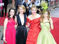 "<p>Actresses (L-R) Kristin Davis, Cynthia Nixon, Kim Cattrall and Sarah Jessica Parker arrive for the world premiere of ""Sex And The City: The Movie"" at Leicester Square in London, May 12, 2008. REUTERS/Dylan Martinez</p>"
