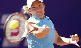 <p>La numero uno del tennis mondiale, la belga Justine Henin, durante una partita. REUTERS/Tobias Schwarz</p>