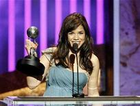 """<p>Actress America Ferrera accepts the Image Award for outstanding actress in a comedy series for her role in """"Ugly Betty"""" at the 39th Annual NAACP Image Awards at the Shrine auditorium in Los Angeles February 14, 2008. REUTERS/Mario Anzuoni</p>"""