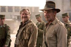"""<p>Actors Ray Winstone (L) and Harrison Ford are shown in a scene from the new film """"Indiana Jones and the Kingdom of the Crystal Skull"""" in this undated publicity photograph. REUTERS/David James/Paramount Pictures/Handout</p>"""