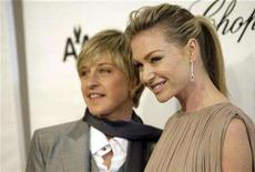 <p>Ellen DeGeneres (L) and Portia de Rossi arrive at the 16th Annual Elton John AIDS Foundation Party to celebrate the Academy Awards, the Oscars, at the Pacific Design Center in West Hollywood, California, February 24, 2008. DeGeneres plans to marry her long-time partner, actress Portia de Rossi, after a California court ruling allowing gay marriage. REUTERS/Danny Moloshok</p>