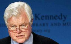 <p>Massachusetts Democratic Senator Edward M. Kennedy at the John F. Kennedy Presidential Library and Museum in Boston, Massachusetts, April 18, 2008. Kennedy, a leading Democrat, was rushed to a hospital in Cape Cod, Massachusetts, with symptoms of a stroke, CNN reported on Saturday. REUTERS/Adam Hunger</p>