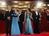 """<p>From L-R, Harrison Ford, Calista Flockhart, producer George Lucas, Kate Capshaw, wife of U.S. director Steven Spielberg, Steven Spielberg and Karen Allen depart after the world premiere screening of the film """"Indiana Jones and the Kingdom of the Crystal Skull"""" at the 61st Cannes Film Festival May 18, 2008. REUTERS/Jean-Paul Pelissier</p>"""