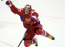 <p>Russia's Ilya Kovalchuk celebrates after scoring his team's fourth goal on Canada during the third period of the gold medal game at the 2008 World Hockey Championships in Quebec City May 18, 2008. REUTERS/Mathieu Belanger</p>