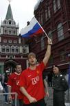 <p>Torcedor do Manchester United na Praça Vermelha, em Moscou, nesta terça-feira. Manchester e Chelsea se enfrentam na capital russa na quarta-feira na final da Liga dos Campeões. Photo by Thomas Peter</p>