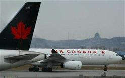 <p>An Air Canada plane prepares for take-off at Montreal's Dorval Airport, April 1, 2003. Air Canada is looking for ways to offset record high fuel prices that are consuming a growing portion of its income and will likely hurt demand for air travel, the airline's chief executive said on Wednesday. REUTERS/Christinne Muschi</p>