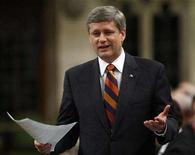 <p>Prime Minister Stephen Harper speaks during Question Period in the House of Commons on Parliament Hill in Ottawa May 14, 2008. REUTERS/Chris Wattie</p>