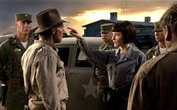 """<p>Igor Jijikine, Harrison Ford and Cate Blanchett in a scene from """"Indiana Jones and the Kingdom of the Crystal Skull"""". REUTERS/Paramount Pictures/Handout</p>"""