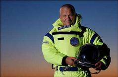 <p>File photograph of Michel Fournier posing in his supersonic freefall suit. REUTERS/Benali-Poulet/POOL</p>