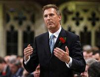 <p>Canada's Foreign Minister Maxime Bernier speaks during Question Period in the House of Commons on Parliament Hill in Ottawa May 7, 2008. REUTERS/Chris Wattie</p>